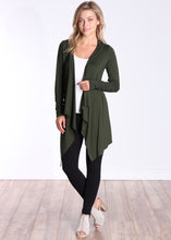 Load image into Gallery viewer, Olive Long Sleeve Hooded Cardigan