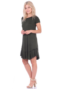 Short Sleeve Ruffle Hem Dress