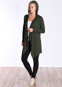 Olive Long Sleeve Hooded Cardigan