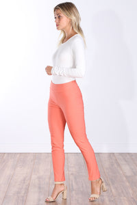 Peach Mid Rise Ankle Pull On Pants