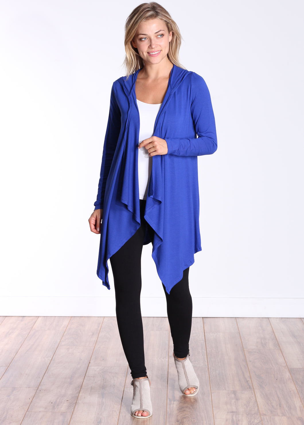 Royal Long Sleeve Hooded Cardigan