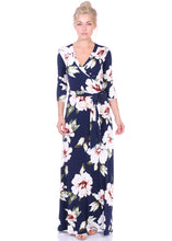 Load image into Gallery viewer, 3/4 Sleeve Maxi Wrap Dress