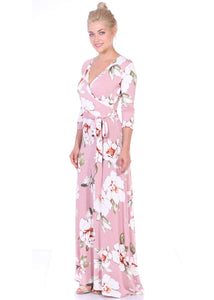 3/4 Sleeve Maxi Wrap Dress