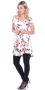 ST89 Printed Short Sleeve Tunic Top