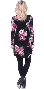 ST90 Long Sleeve Printed Vneck Tunic Top