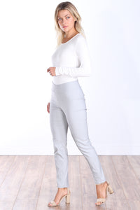 Silver Mid Rise Ankle Pull On Pants