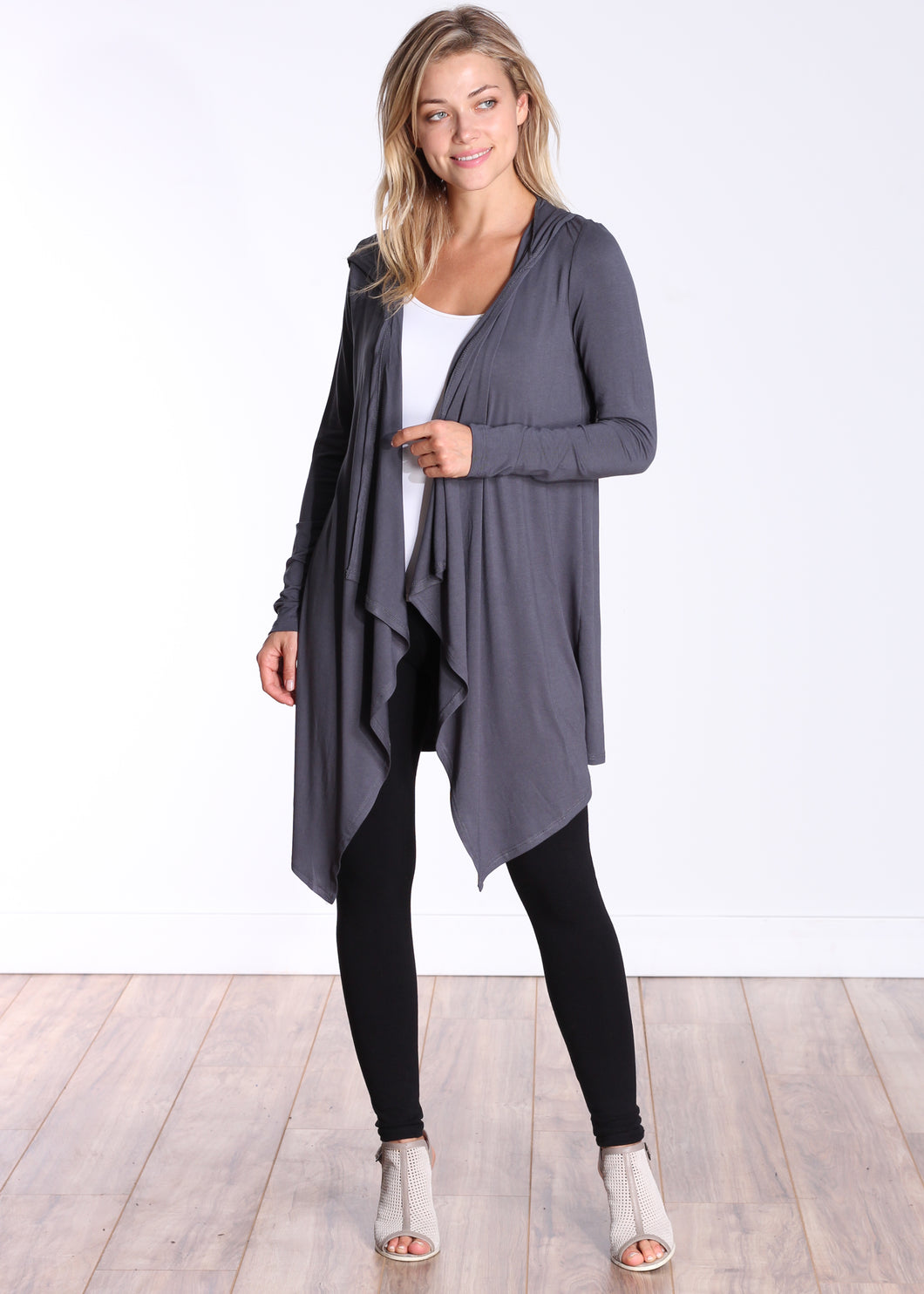 Slate Long Sleeve Hooded Cardigan