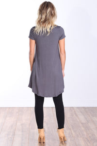 Slate Short Sleeve Tunic Top