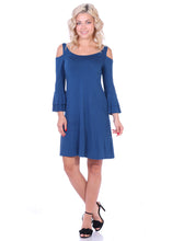 Load image into Gallery viewer, Cold Shoulder Bell Sleeve Dress