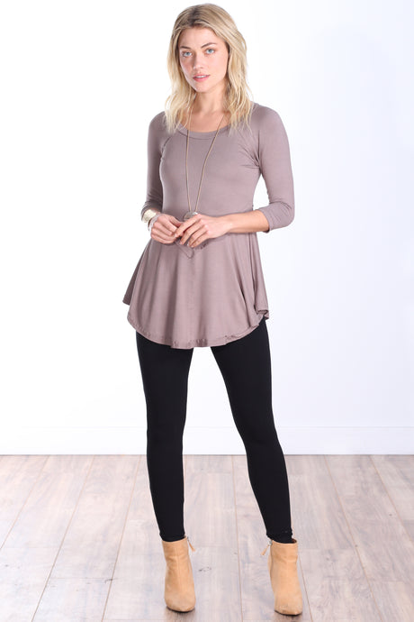 Toffee Three-Quarter Sleeve Tunic Top