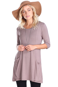 Toffee 3/4 Sleeve Tunic Pocket Top