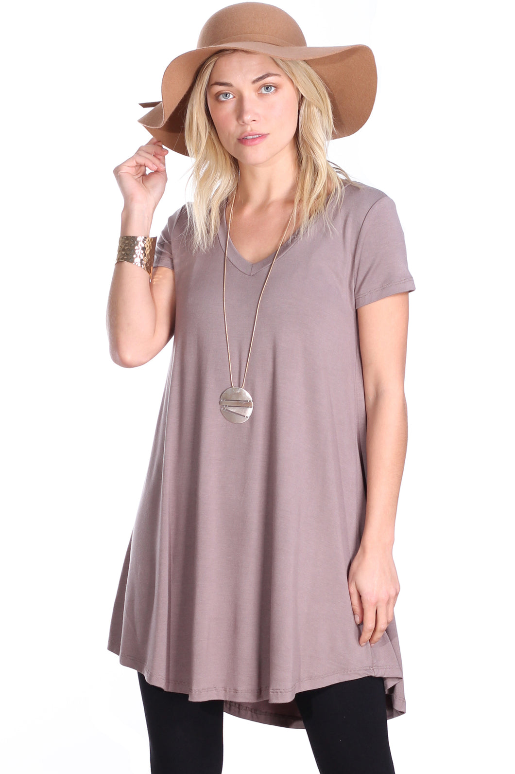 Toffee Short Sleeve Tunic Top