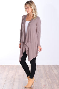Toffee Long Sleeve Hooded Cardigan