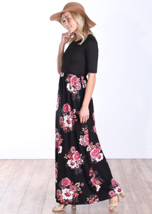 Casual 3/4 Sleeve Long Maxi Dress