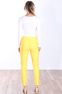 Yellow Mid Rise Ankle Pull On Pants