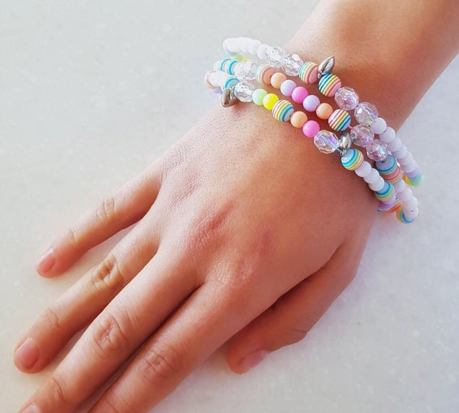 DIY Rainbow Multi-Strand Beads Bracelet