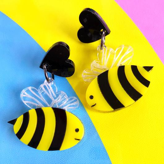 Little Pig Design Cute Bee Acrylic Earrings