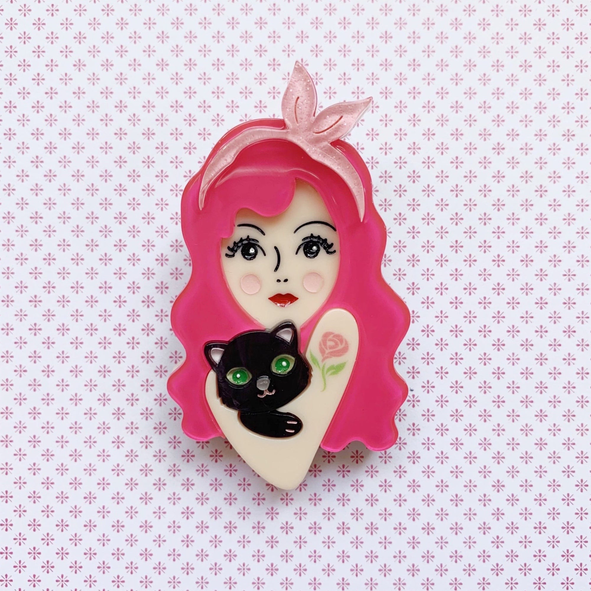 Blushing Rose (Black Kitten) Brooch 🐱