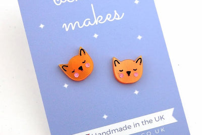 BekBek Makes Little Cat Acrylic Earrings (Ginger)