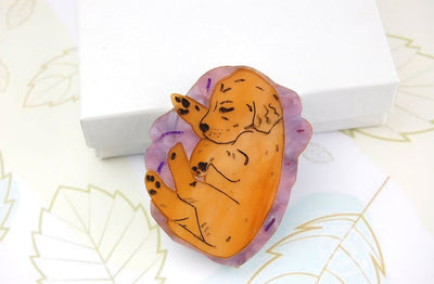 BekBek Makes Sleepy Puppy Brooch