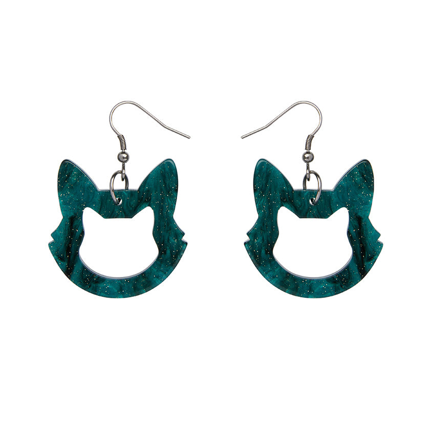 Erstwilder Essentials Cat Head Bubble Resin Drop Earrings (Green)
