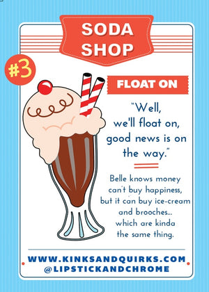 Float On Root Beer Float Pin Brooch by Lipstick & Chrome