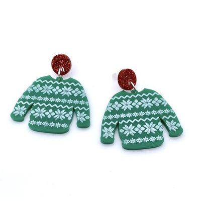 Little Pig Design Christmas Jumper Acrylic Earrings