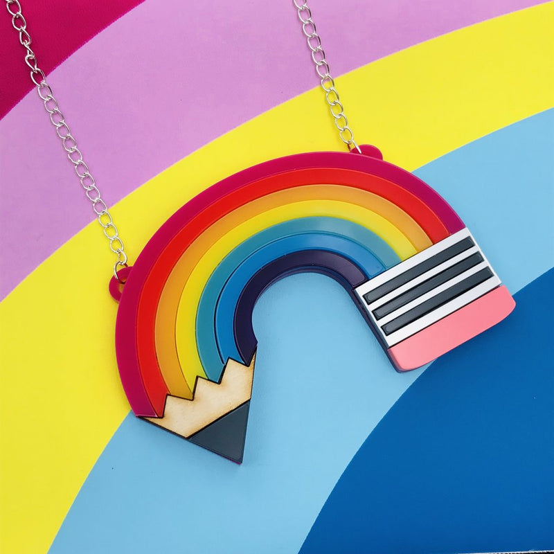 Little Pig Design Statement Rainbow Pencil Necklace
