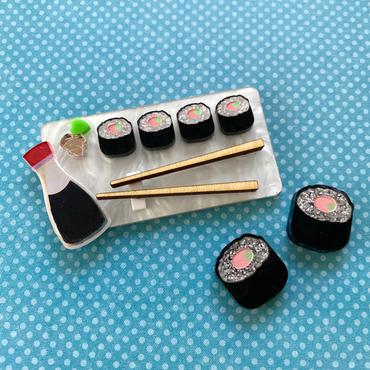 Sushi Tray and Earrings by Poly Paige