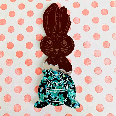Chocolate Bunny Brooch by Poly Paige *Pre order for 1 March*