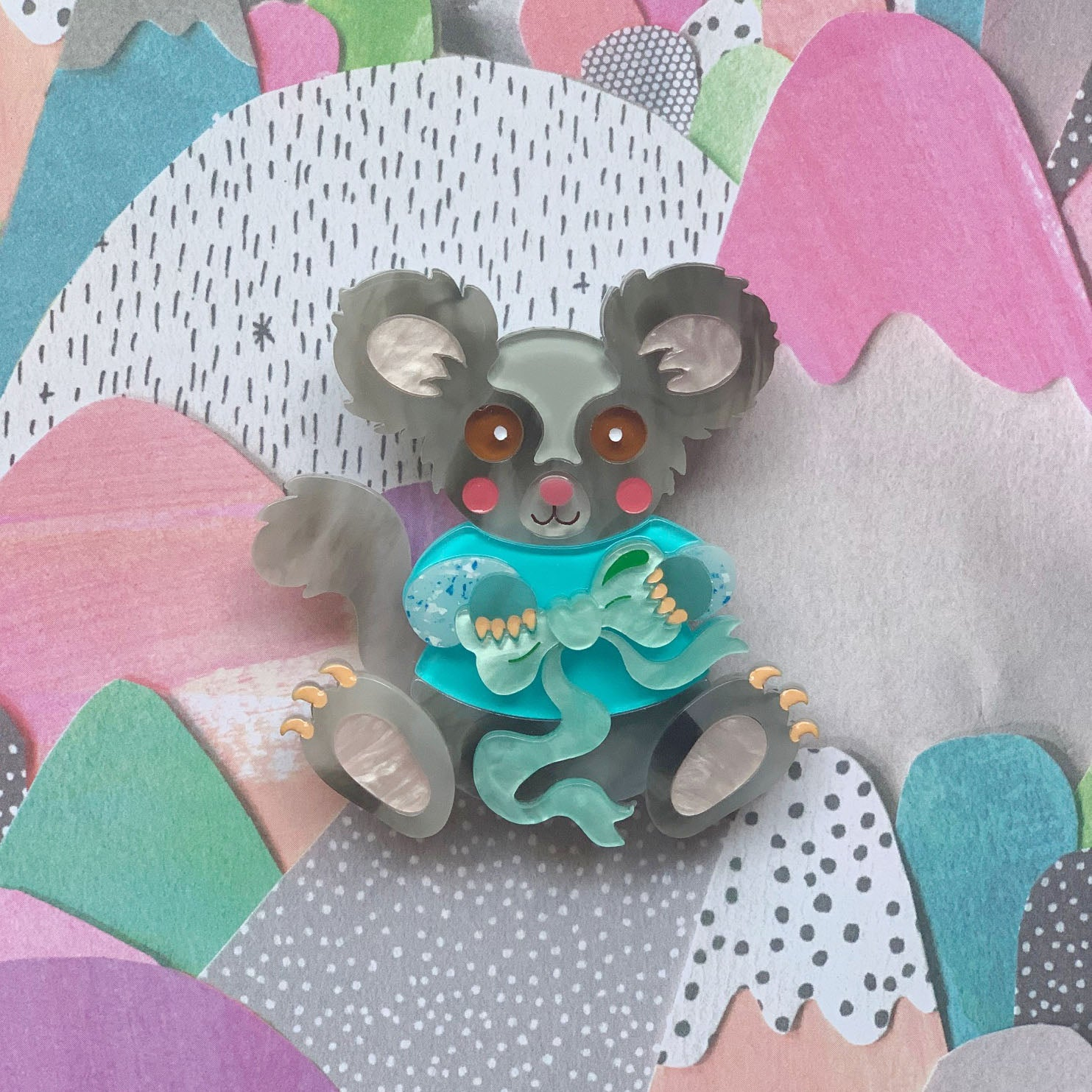 Gina the Greater Glider Brooch