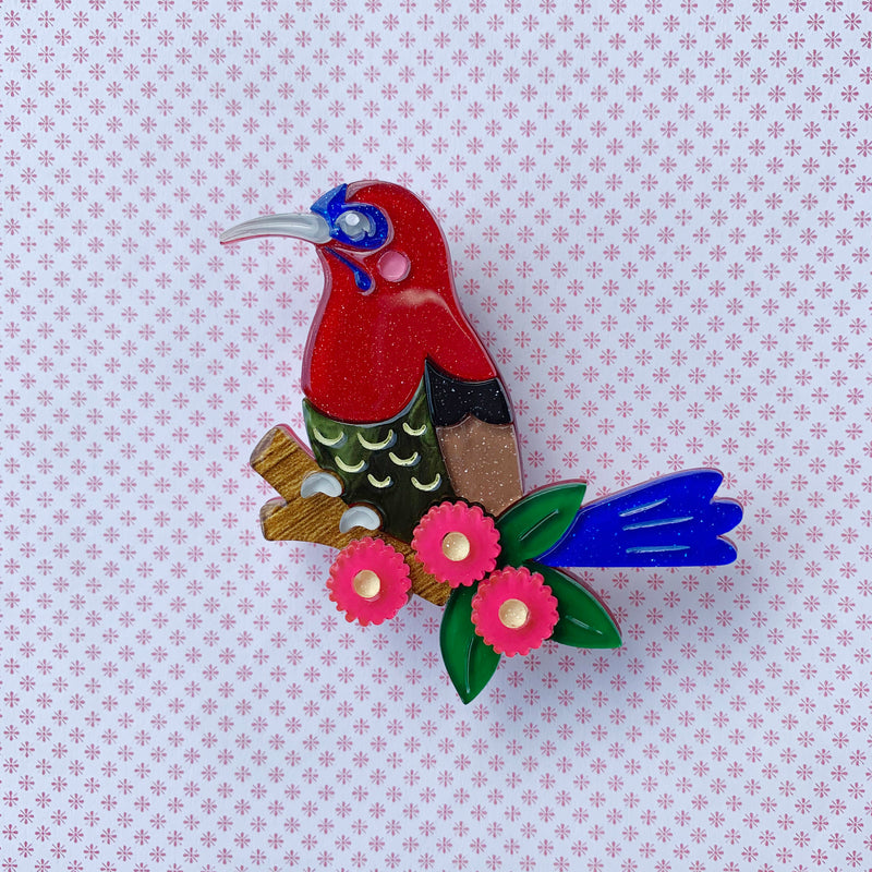 Celia the Crimson Sunbird Brooch