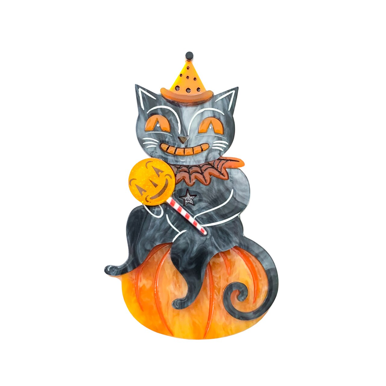 Lolligagger Pumpkin Cat Brooch Johanna Parker x Lipstick & Chrome *Pre order for 22 Jan*