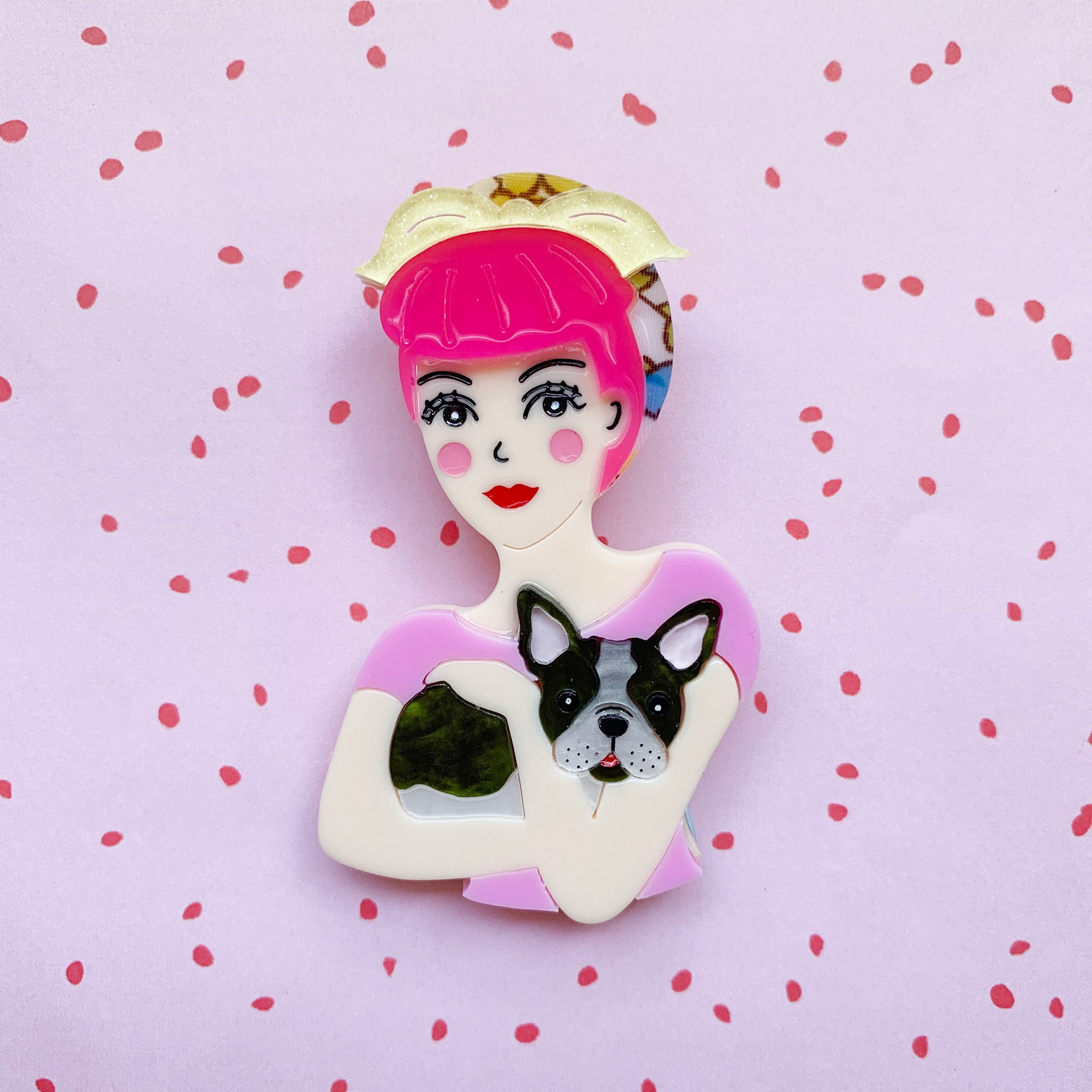 Fab Fifi and Frenchie Brooch (Pink Hair) Brooch