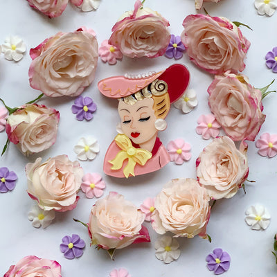 Portrait of a Plant Lady Brooch by Lipstick & Chrome