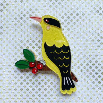 Bella the Black-Naped Oriole Brooch Bella the Black Naped Oriole Brooch Shelovesblooms