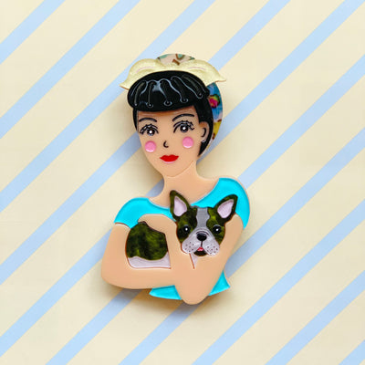 Fab Fifi and Frenchie Brooch (Blue) Brooch