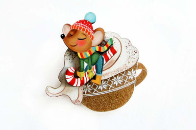 LaliBlue Little Mouse on Cappuccino Cream Brooch