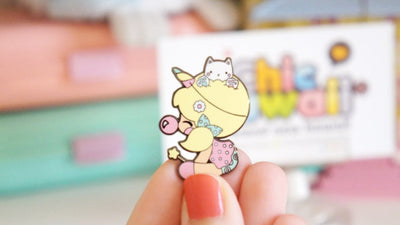 Chic Kawaii Unicorn Girl with Cat Pin