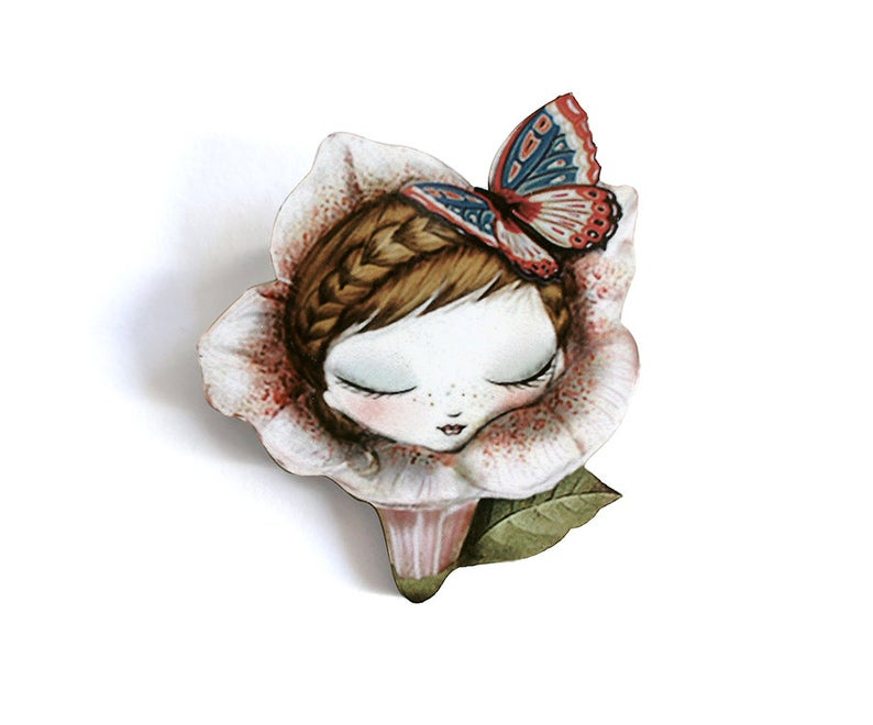 LaliBlue Petunia Brooch *Pre order for 11 November*