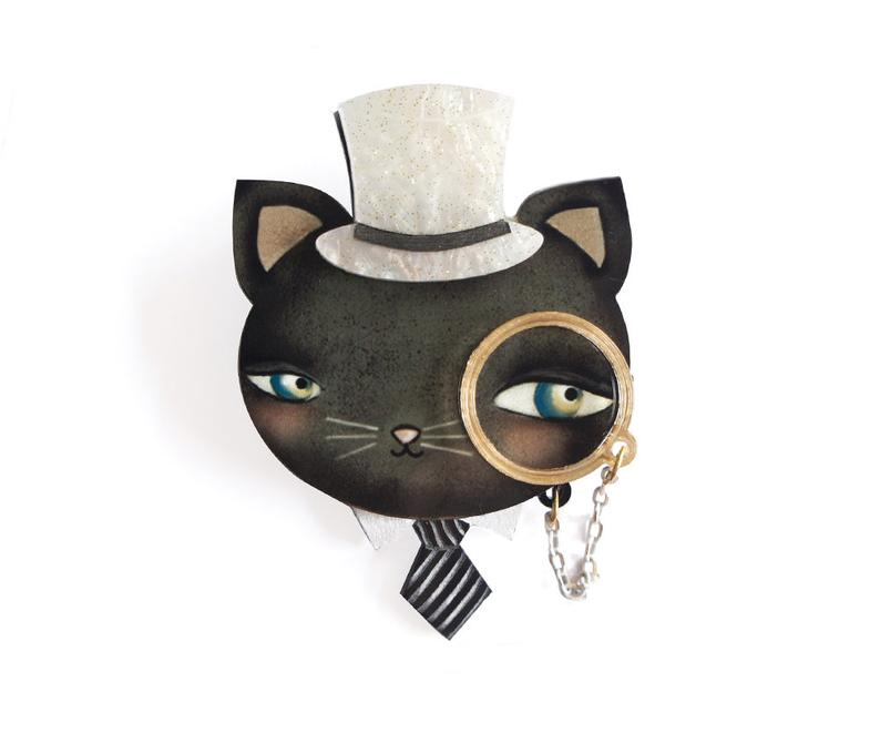LaliBlue Cat with Monocle Brooch *Pre order for 11 November*