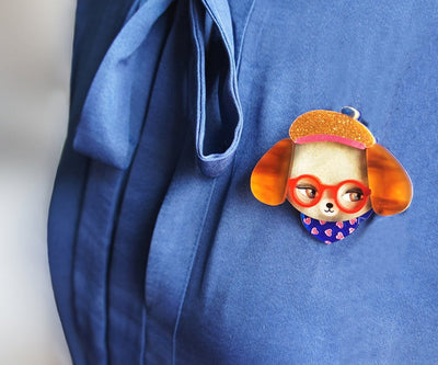 LaliBlue Dog with Glasses Brooch