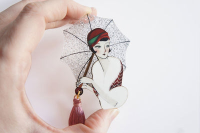 LaliBlue Girl with Umbrella Brooch