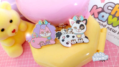 Chic Kawaii Surprise Puppy Pin