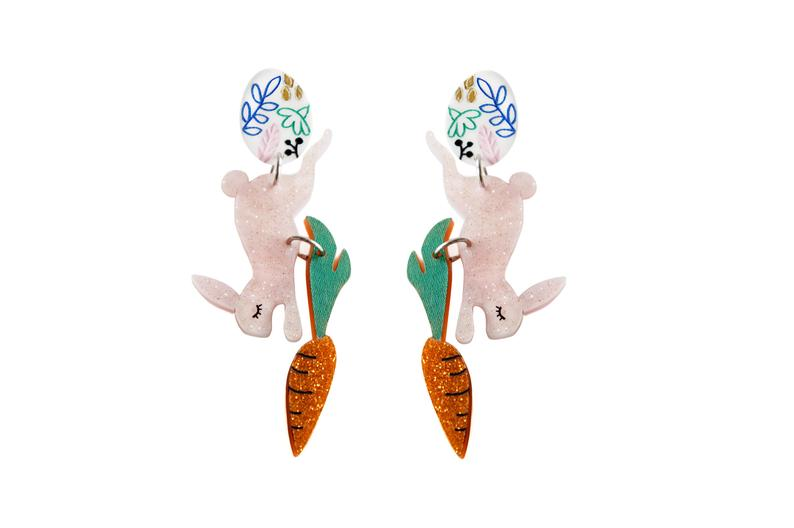 Laliblue Easter Bunny Earrings with Carrot and Egg