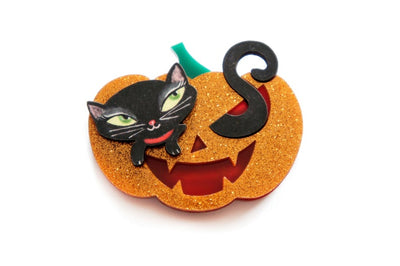 LaliBlue Pumpkin Black Kitten Brooch