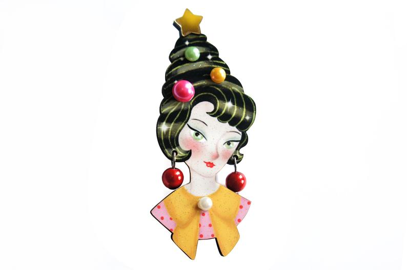 LaliBlue Pinup Lady Christmas Style Brooch