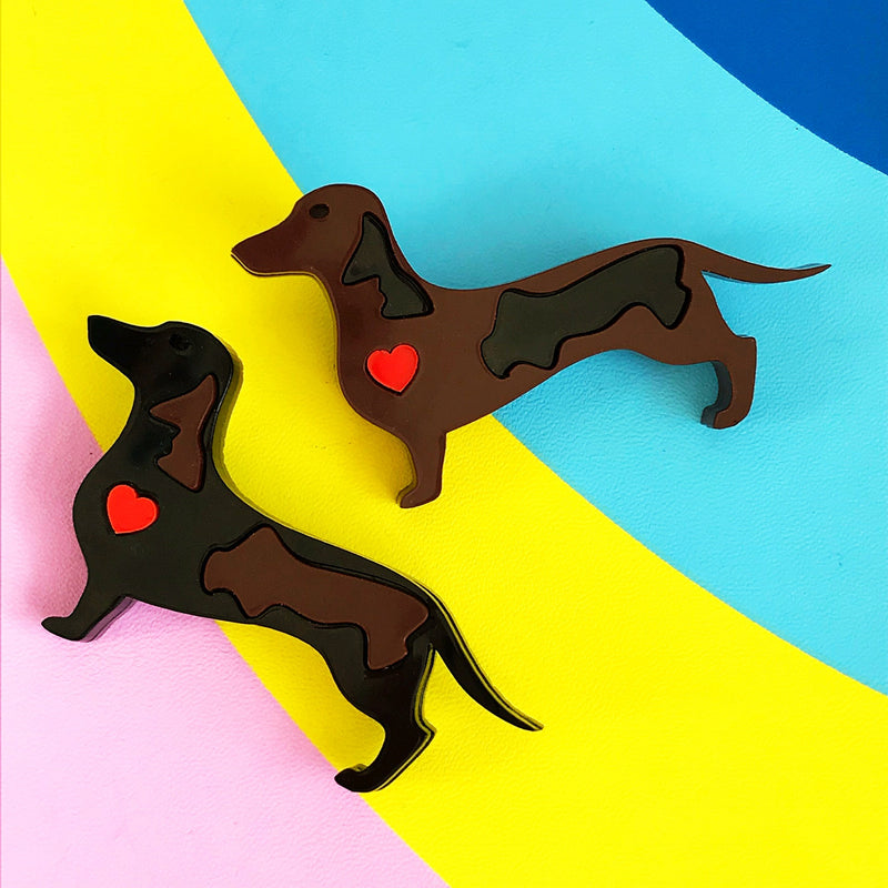 Little Pig Design Black with Brown Dachshund Brooch