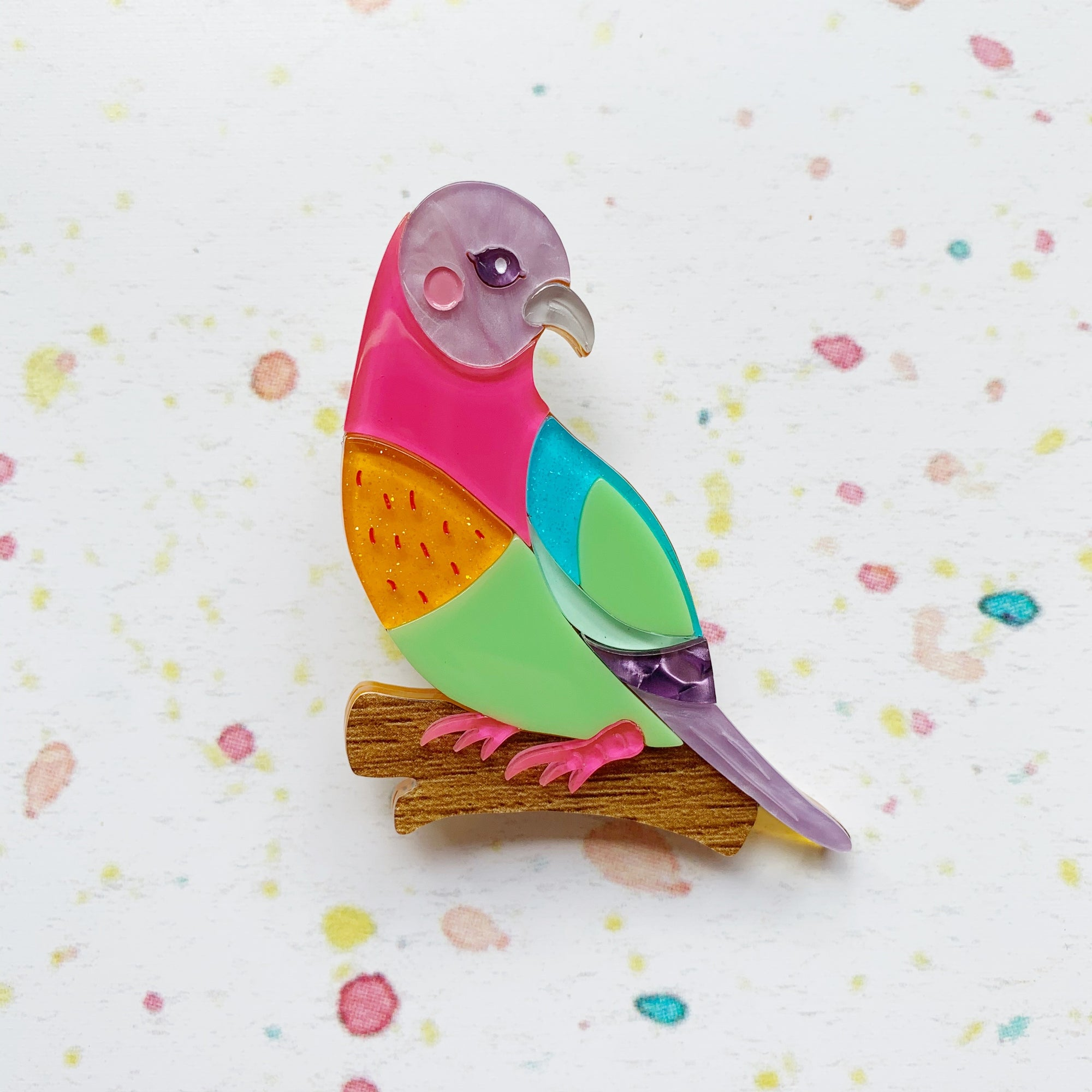 Skittles the Pink-Necked Green Pigeon Brooch