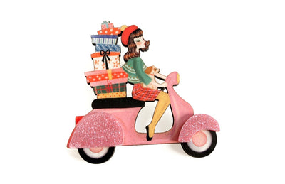 LaliBlue Girl on a Scooter with Gifts Brooch *Pre order 10 May*